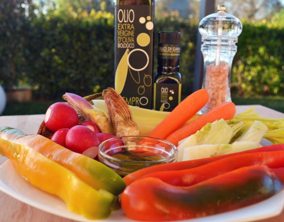 verdure pinzimonio con olio extravergine bio